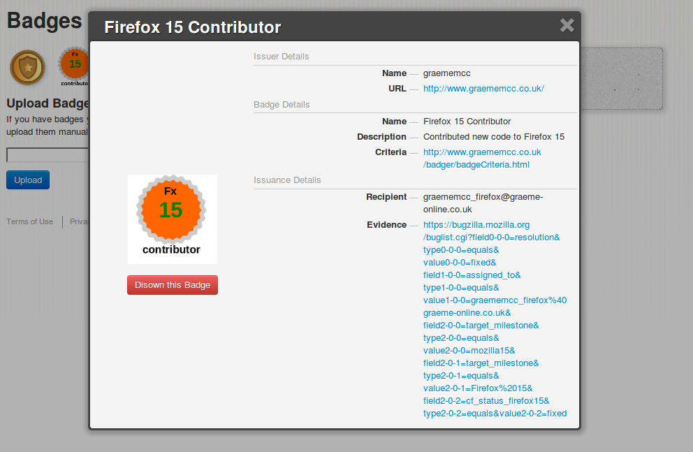 Screenshot of the badge viewed on beta.openbadges.org